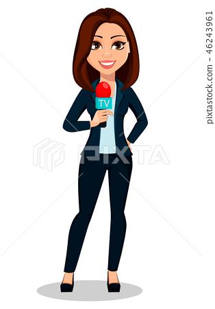 Journalist woman. Beautiful lady reporter 46243961