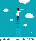 Man stands on a ladder in the sky with clouds. 46244268