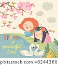 Cute little girls and birds playing in the spring garden 46244360