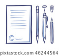 Office Supplies Stationery Monochrome Icon Vector 46244564