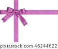 Purple bow satin ribbon isolated on white gift box 46244622