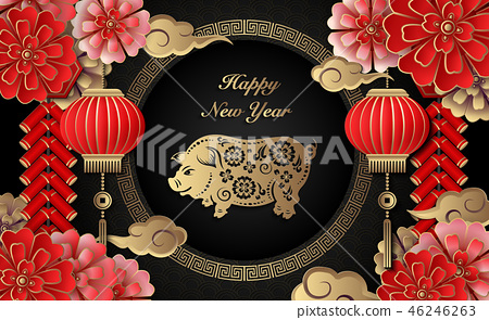 Happy Chinese new year retro relief template 46246263
