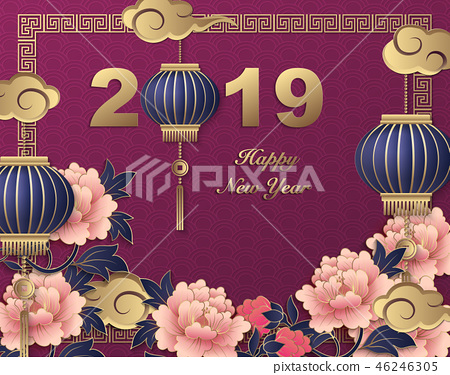 Happy Chinese new year retro relief template 46246305