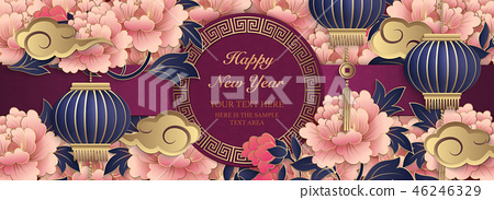 Happy Chinese new year retro relief template 46246329