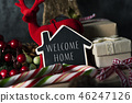 christmas ornaments and text welcome home 46247126