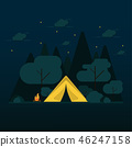 flat design camping in the forest 46247158