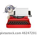 Shitzu dog is typing on a typewriter keyboard. Isolated on white 46247201