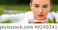 Beautiful Young Woman Relaxing in Robe Health Spa 46249341