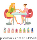 Manicure Manicurist and Client Icons Set Vector 46249548