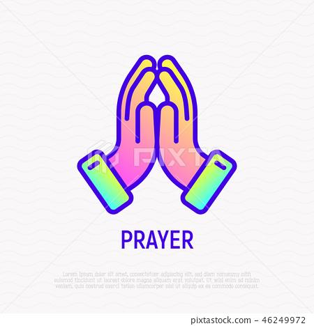 Praying hands thin line icon. Vector illustration 46249972