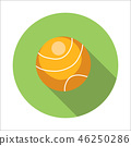 Tennis ball flat icon 46250286