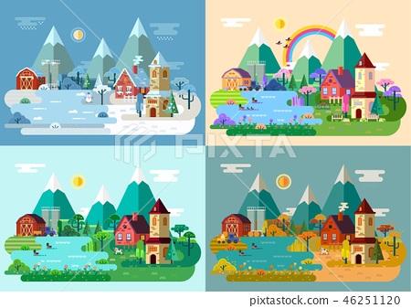 Village at summer, winter, autumn, spring.Panorama 46251120