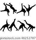 Black set Silhouettes breakdancer on a white  46252787