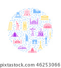 World Landmarks Signs Thin Line Round Design Template. Vector 46253066