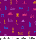 World Landmarks Signs Thin Line Seamless Pattern Background. Vector 46253067