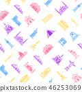 World Landmarks Signs Thin Line Seamless Pattern Background. Vector 46253069
