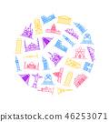 World Landmarks Signs Thin Line Round Design Template Ad. Vector 46253071
