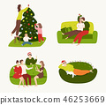 A set of people involved in preparing for the winter holidays and resting at home. 46253669