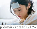 젊은 여자 감기 고열 46253757