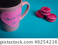 Thank you message sticky note on the coffee mug 46254216