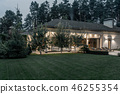 Illuminated villa with column and large lawn 46255354