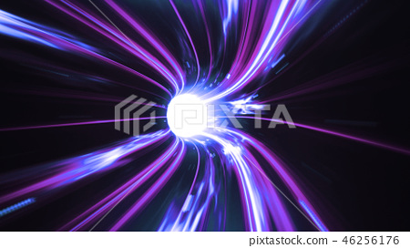 3d render Blue-violet Wormhole time vortex space - Stock