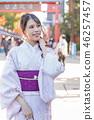 아사쿠사 산책 기모노 차림의 젊은 여성 46257457