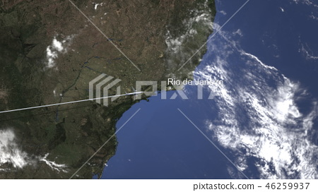 Airliner flying to Rio de Janeiro, Brazil from west. 3D rendering 46259937