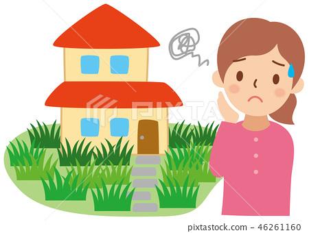 잡초 집 곤란한 여성 46261160