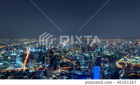 Aerial view of Sathorn, Bangkok Downtown. Financial district and 46261167