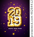 2019 Happy New Year illustration with 3d light bulb typography lettering and gold star on purple 46264412