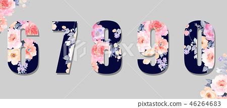 美麗的水彩玫瑰花,牡丹花日本數字 46264683