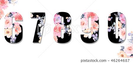 美麗的水彩玫瑰花,牡丹花日本數字 46264687