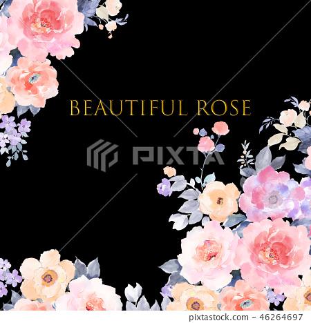 美麗的水彩玫瑰花,牡丹花日本數字 46264697
