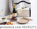 New Year champagne and vintage french glasses. Food for Christmas selebration. Happy winter holidays 46265271