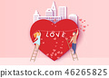 Valentines day card with couple in love heart 46265825