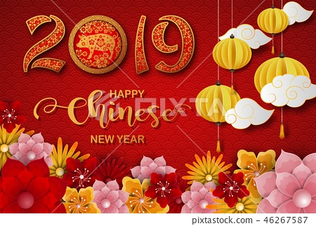 Happy Chinese New Year 2019 card. Year of the pig 46267587