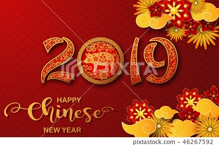 Happy Chinese New Year 2019 card. Year of the pig 46267592