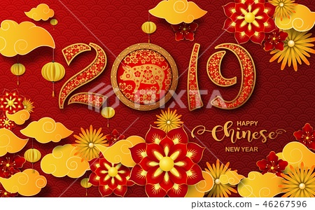 Happy Chinese New Year 2019 card. Year of the pig 46267596