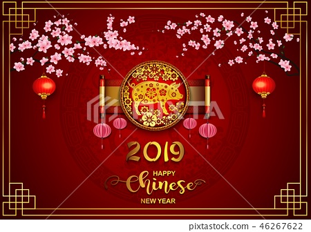 Happy Chinese New Year 2019 card. Year of the pig 46267622