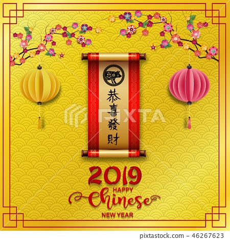 Happy Chinese New Year 2019 card. Year of the pig 46267623
