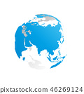 3D planet Earth globe. Transparent sphere with blue land silhouettes. Focused on Asia 46269124