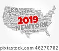 2019 year USA Map word cloud 46270782