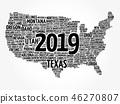 2019 year USA Map word cloud 46270807
