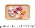 Ingredients for boiling soup in wooden tray 46271247