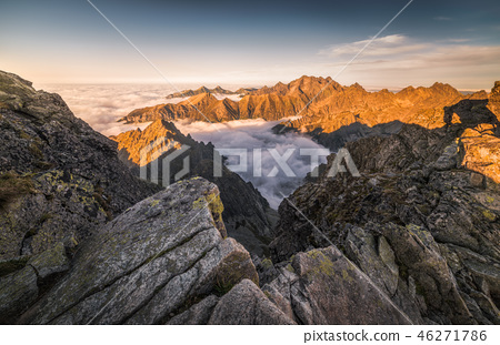 Mountains with Inversion at Sunset 46271786