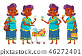 Indian Old Woman Shopping Vector. Elderly People. Hindu In Sari. Asian. Senior Person. Aged 46272491