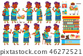 Indian Old Woman Poses Set Vector. Elderly People Shopping. Hindu. Asian. Senior Person In Sari 46272521