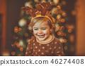 Happy baby celebrating Christmas 46274408
