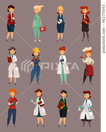 Different female or woman jobs, profession or work 46275643